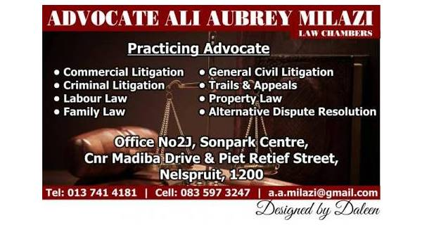 Advocate Ali Aubrey Milazi Law Chambers For Referral from Attorneys Logo